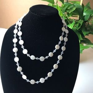 Cute White Clear Beaded Necklace